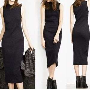 Zara Black Cotton BodyCon Dress